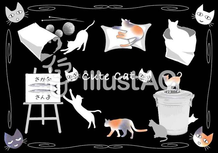 猫のキュートなイラスト集 黒背景のイラスト