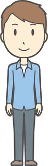 ブルー襟シャツ男性-277-全身