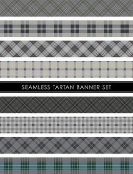 Seamless tartan banner set