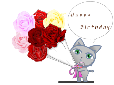 Happy birthday from a cat with a bouquet