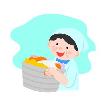A woman with a laundry basket