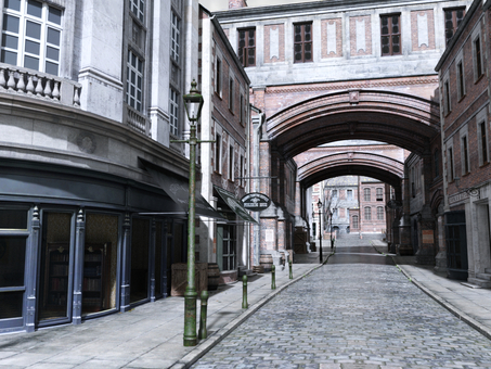 Landscape of old London streets (street)