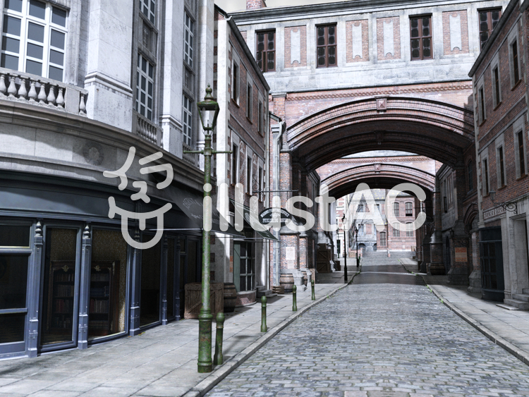 古いロンドンの街並みの風景(ストリート)のイラスト