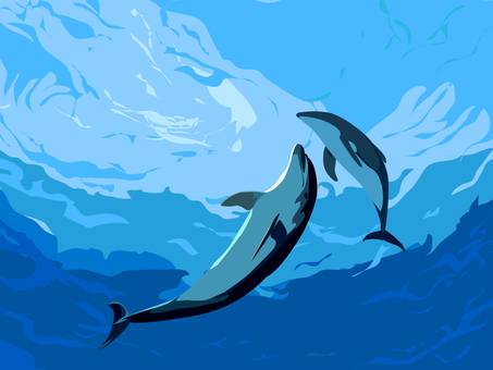 Dolphins playing in the cut sea