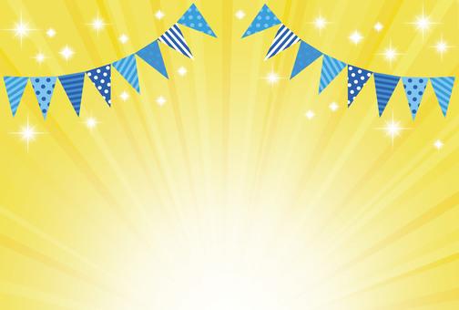 Flyer event flag, glitter radial yellow