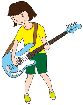 Student casual playing bass