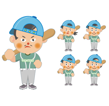 Baseball player (with hat) set