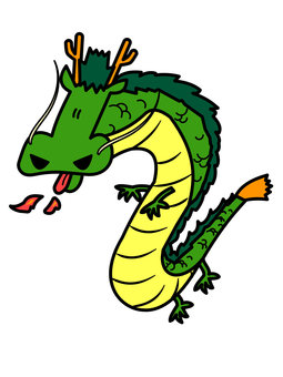 Oriental dragon blowing fire