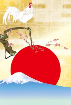 Naruko chicken _ white _ Asahi red ume _ postcard size