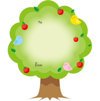 Frame of tree and fruit and bird