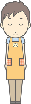 Nursery teacher man - bow - Smile - whole body