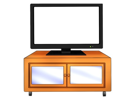 TV (screen blank) and TV stand