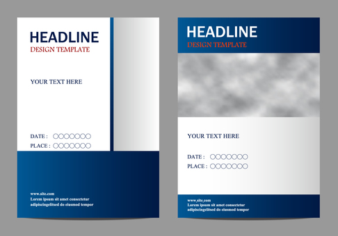 A set of simple blue templates