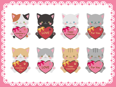 Valentine cat illustration material
