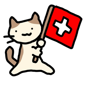 Cat with Swiss flag
