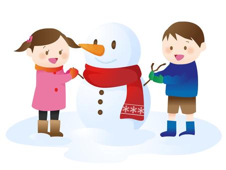 雪人和孩子
