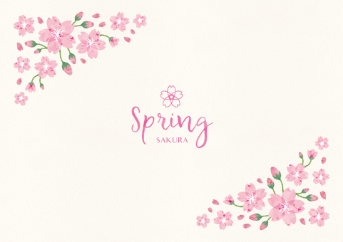 Spring background frame 009 Sakura watercolor