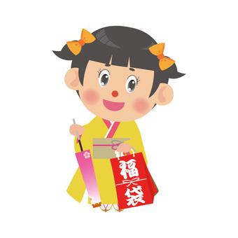 Women in kimono (Lucky bag · Twin tail)