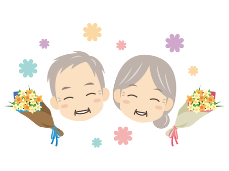 B414_ Old couple and bouquet