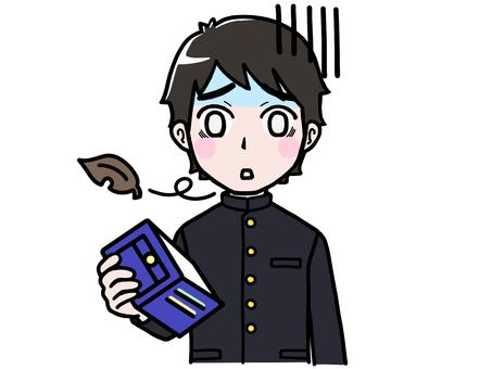 School run boy student empty wallet despair