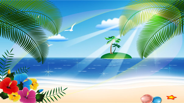 Wallpaper 16x9 (Summer sea and hibiscus)