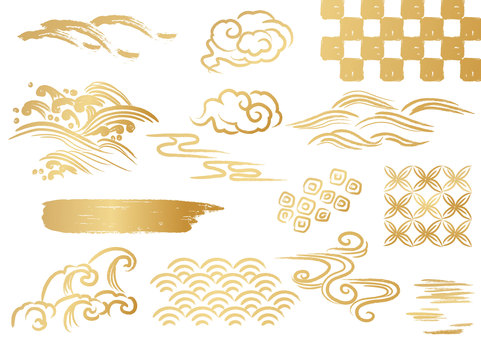 Japanese pattern material 034 wave parts set
