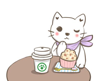 放鬆在咖啡館的白色貓