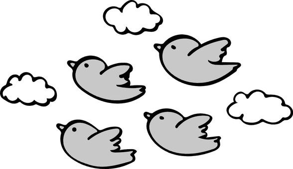 Flying bird gray