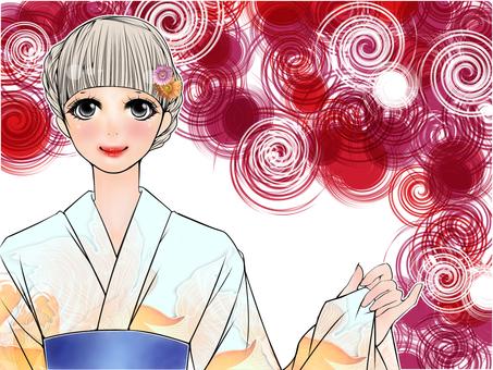 Yukata beauty (red)