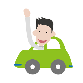 A man waving a hand from a car
