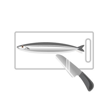 まな板と包丁と魚