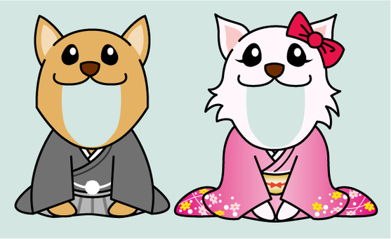For New Year's cards _ Kimono's dog face fit _ part 1