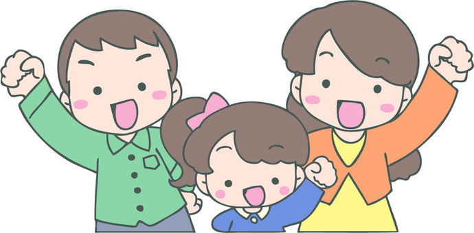 Cheerful family (parents and girls)