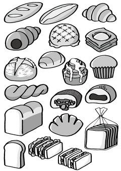 Bread assortment (monochrome)