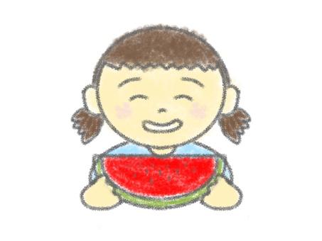 クレヨン画_女の子_スイカ食べる_1