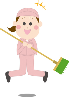 Female Cleaner Jumping