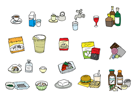 Beverage and food (color assortment set)