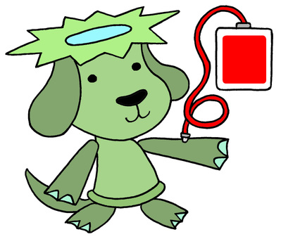 Dog character · blood donation