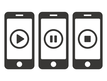 Smartphone video viewing icon set (vertical)