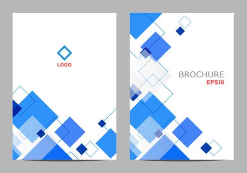 Brochure template blue rectangle