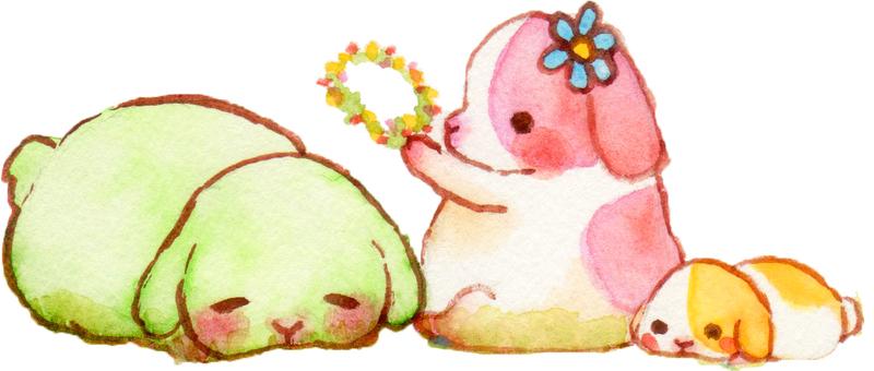 토끼와 꽃 (자르기)