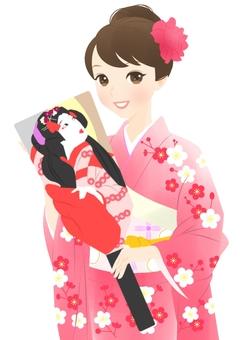 晴れ着の女性(ピンク)羽子板