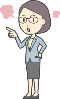 スーツ女性メガネ-323-全身