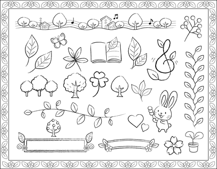 Various leaves of handwriting style BW