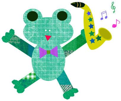 색소폰을 가진 개구리