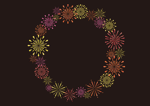 Fireworks round frame (warm black)