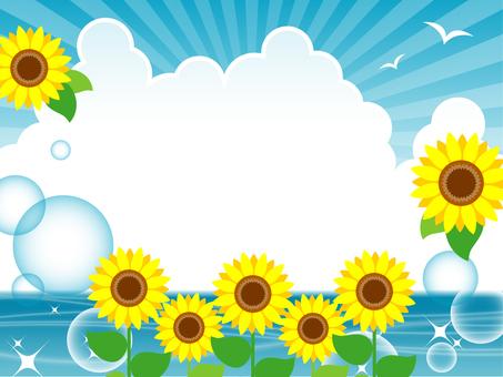 Sunflower and summer sea