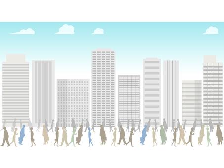 City 4 building, people