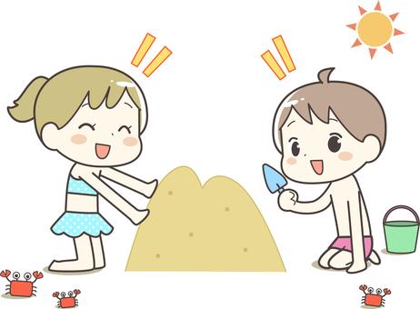 Beach sand play children