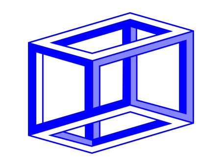 Graphic ESCHERS CUBE blue